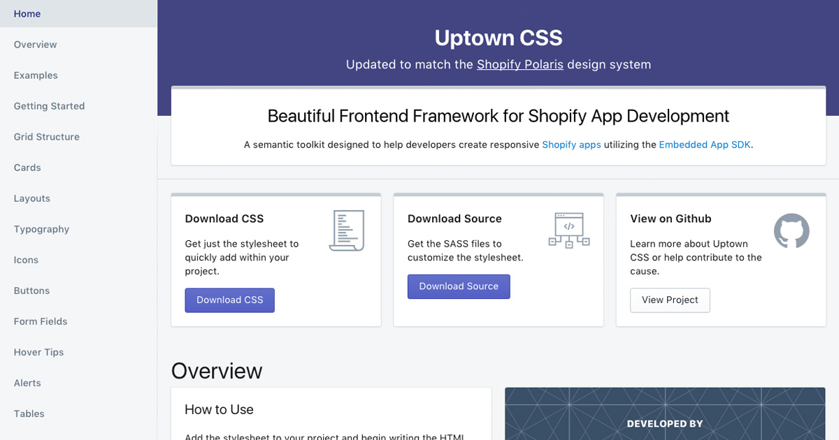 Uptown CSS: a SASS framework for Shopify app development